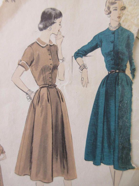 Vintage Vogue 7887 Sewing Pattern 1950s Dress Pattern Bust | 1950s ...