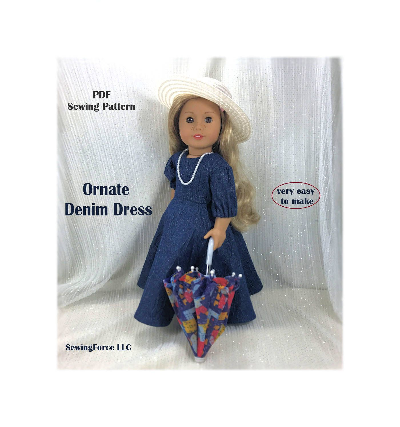 18 inch doll clothes Pattern dress American girl doll clothes ...