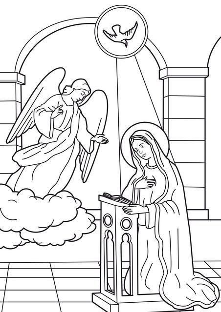 Image coloring annunciation of the angel to virgin mary for Joyful mysteries coloring pages