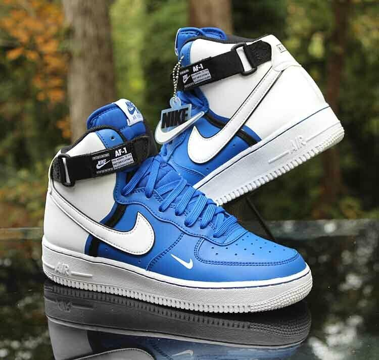 Nike Air Force 1 High Lv8 Gs Size 6 5y Game Royal Blue White Black