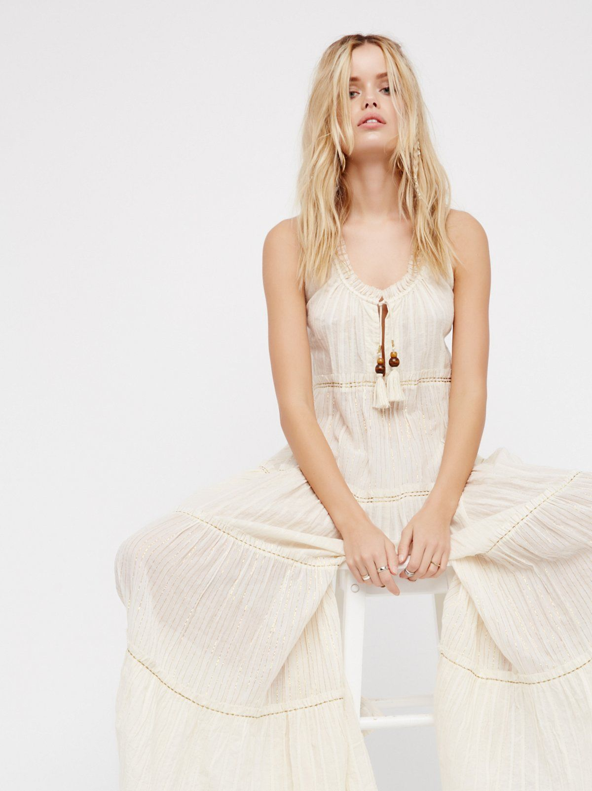 c33f468096 Beach Bum Jumpsuit | Ethereal jumpsuit in a lightweight semi-sheer fabric.  * Pieced with metallic thread * Plunging V-neck * Adjustable tie detailing  at the ...