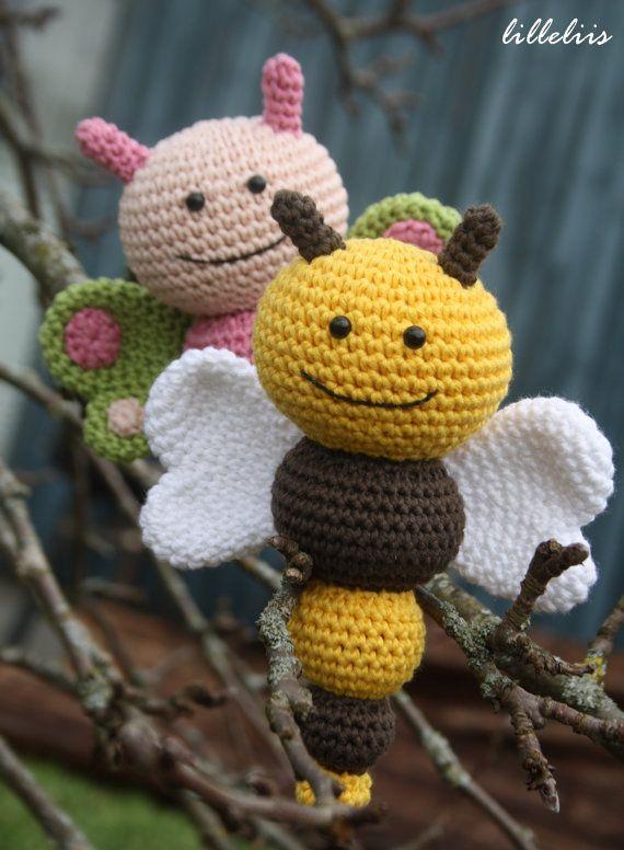PATTERN - Bug rattles - Butterfly, Bee and Caterpillar - crochet ...