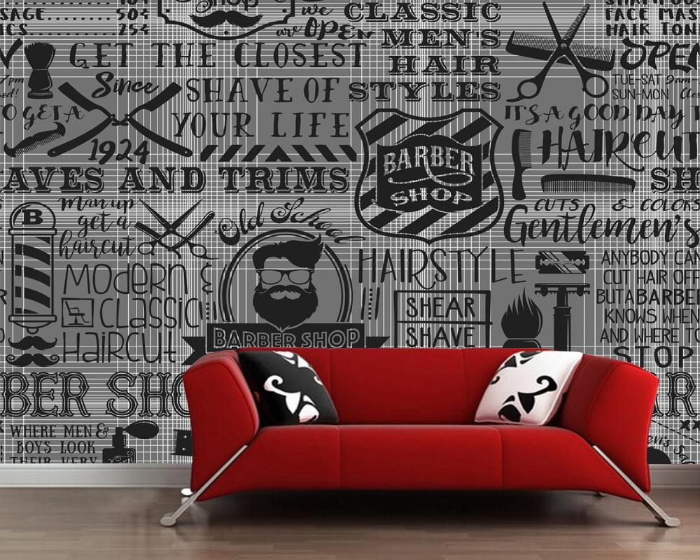 Custom Vintage Wallpaper Barber Shop Elements For The Wall