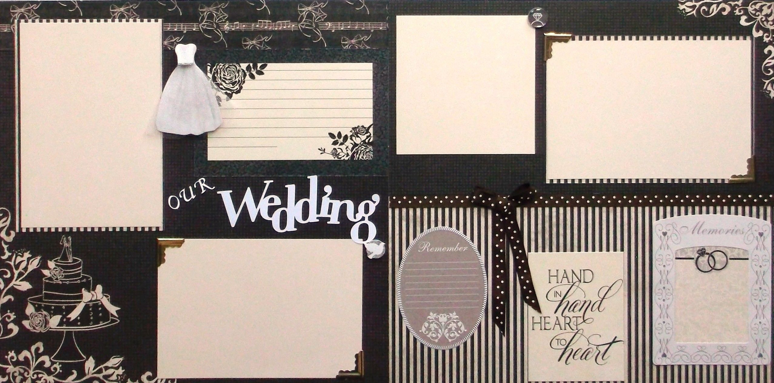 12x12 wedding scrapbook paper - Two 12x12 Wedding Scrapbook Pages In Protective Sleeves Are Ready For Your Photos Handmade In