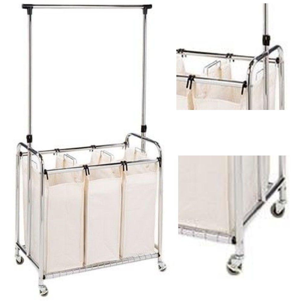 Laundry Sorter Cart Clothes Hanger Bar Rolling Hamper Basket On