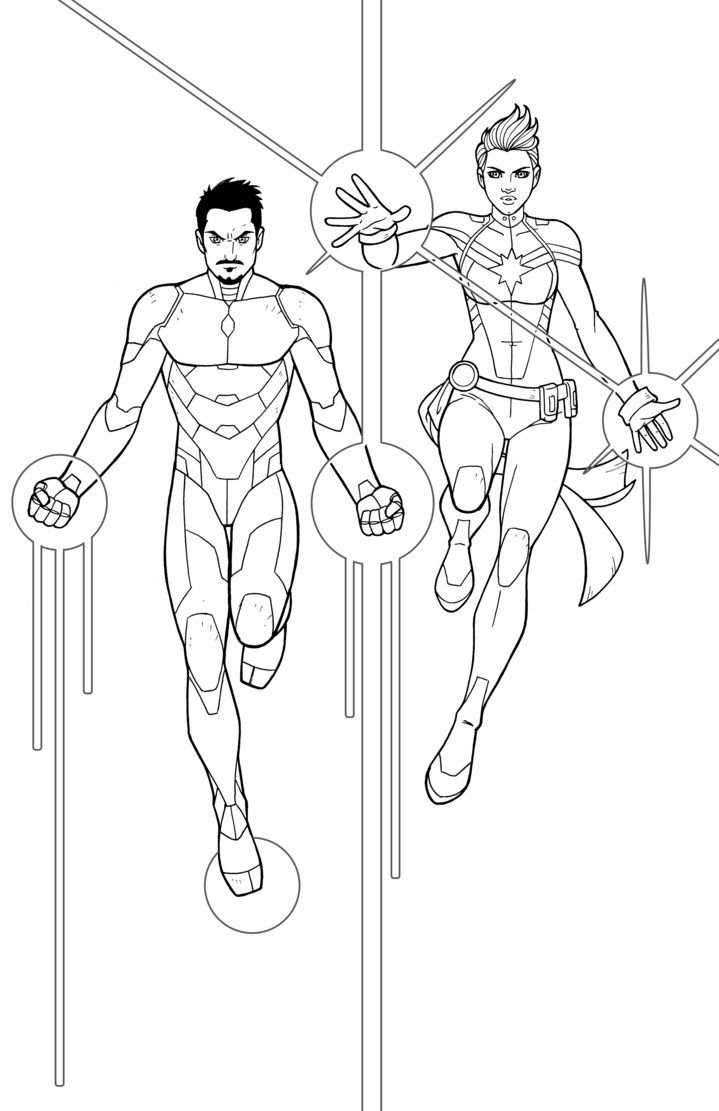 Iron Man Captain Marvel By Jamiefayx Deviantart Com On Deviantart Marvel Coloring Captain Marvel Coloring Pages