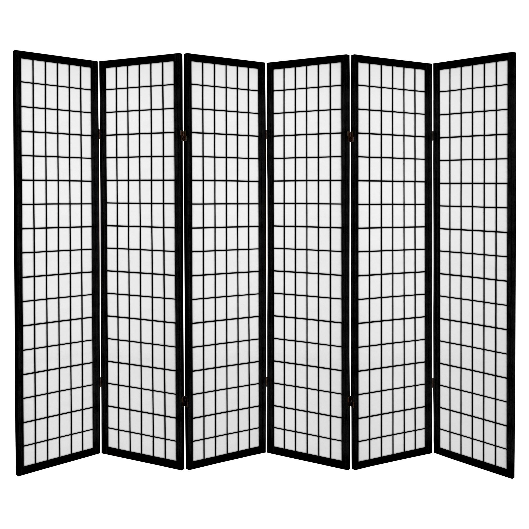 Wohndesign jali  ft tall canvas window pane room divider  black  panels
