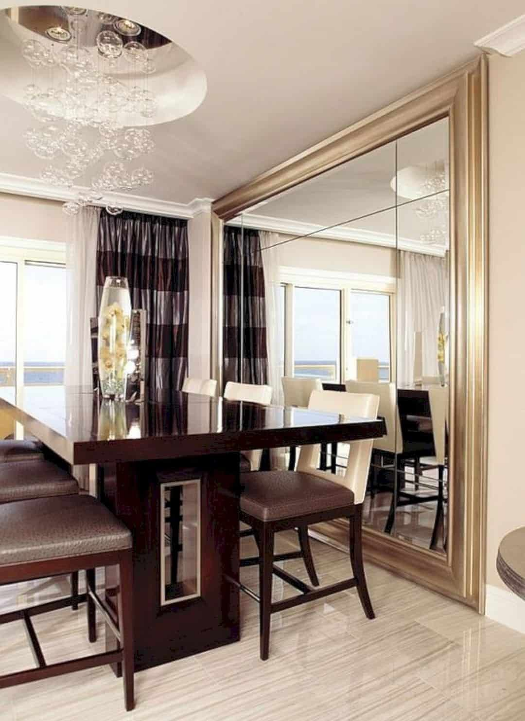 17 Gorgeous Mirror Wall Decorations In 2020 Mirror Dining Room