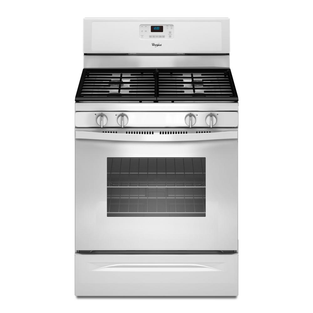 Whirlpool 5 0 Cu Ft Gas Range With Self Cleaning Oven In White