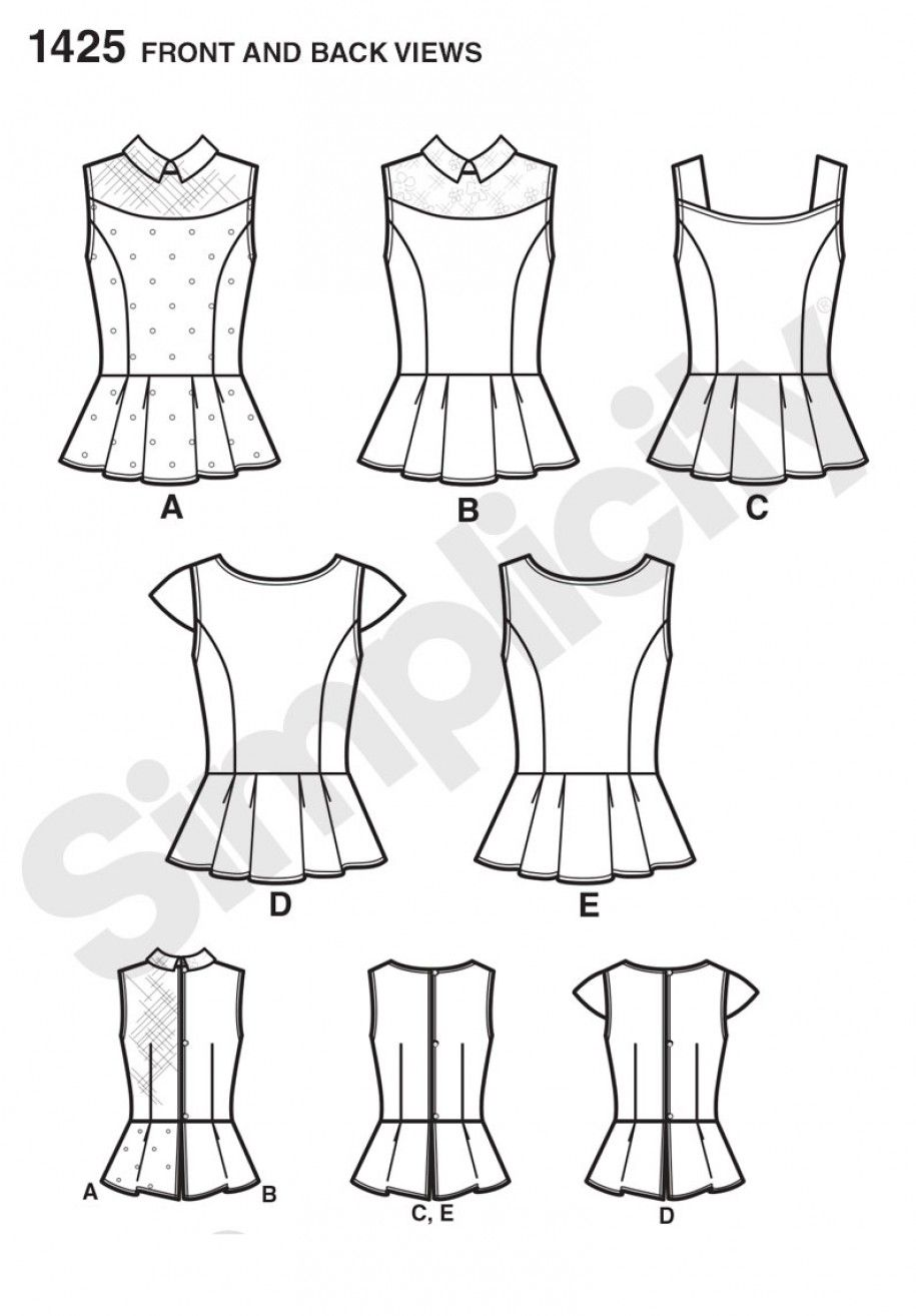 Simplicity 1425 Women\'s Peplum Tops with Neckline Variations Sewing ...