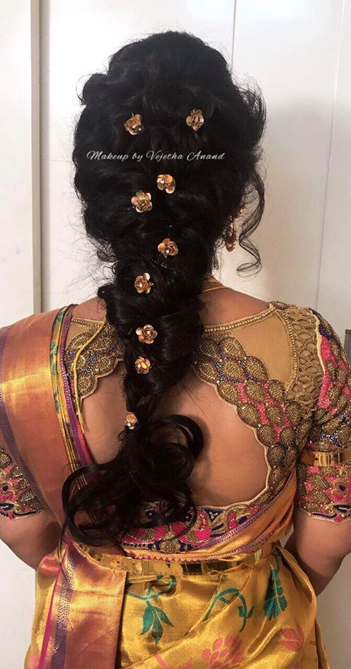 Indian Bridal Hair Loose Fishtail Braid Hair Accessories Hairstyle By Vejetha For Swank Sar Indian Bridal Hairstyles Hair Accessories Blouse Designs Indian