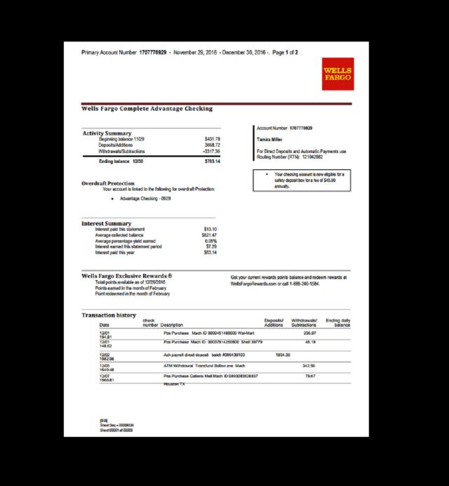 Wells Fargo Bank Statement Template Free Download Statement Template Credit Card Statement Bank Statement