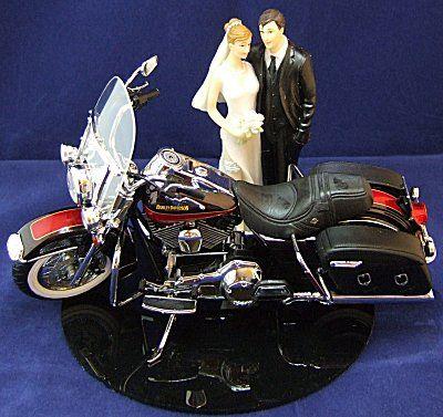 Motorcycle Biker Wedding Cake Topper With Harley Davidson Road King Couple