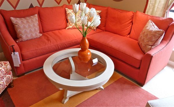 #Wesley-Hall-orange-sectional Coffee table by #TritterFeefer : orange sectional - Sectionals, Sofas & Couches