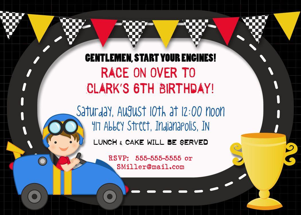 Free printable race car party invitations cars birthday