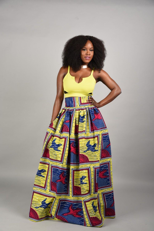 ON SALE Lemon African print  Maxi Skirt