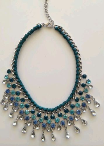 LLD Jewellery Crystal Bead Drop Turquoise Teal Fabric Necklace Collar Celeb Blog