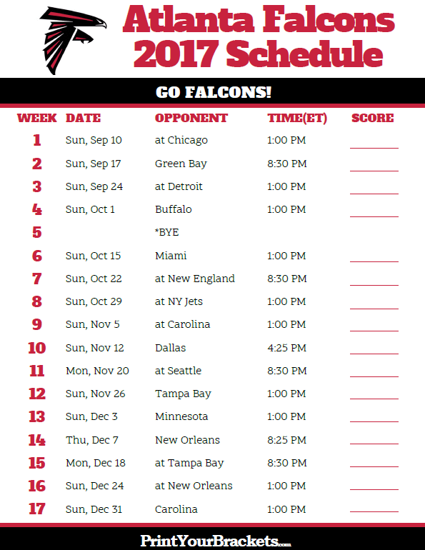 image about Buffalo Bills Printable Schedule referred to as 2017 Atlanta Falcons Soccer Program Printable NFL