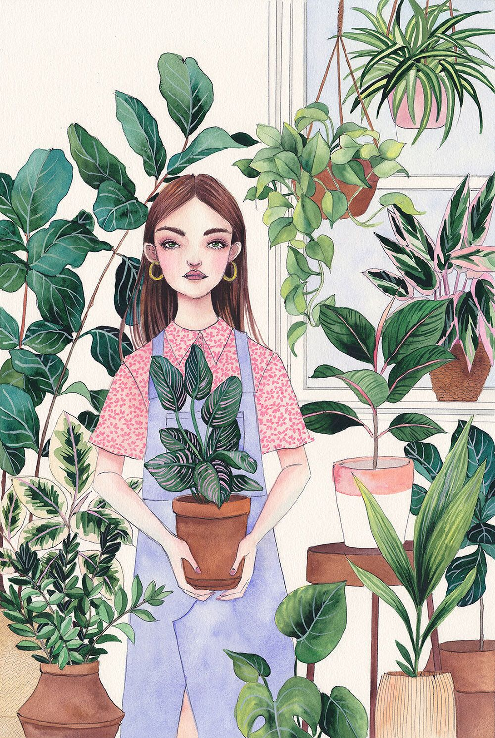 Plant Lady, watercolor illustration — Camila Cerda -   18 planting Illustration paintings ideas