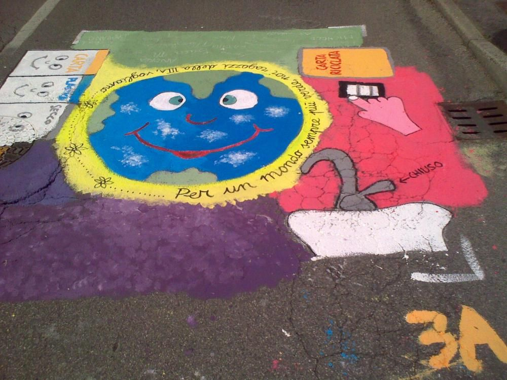 The children paint the road.