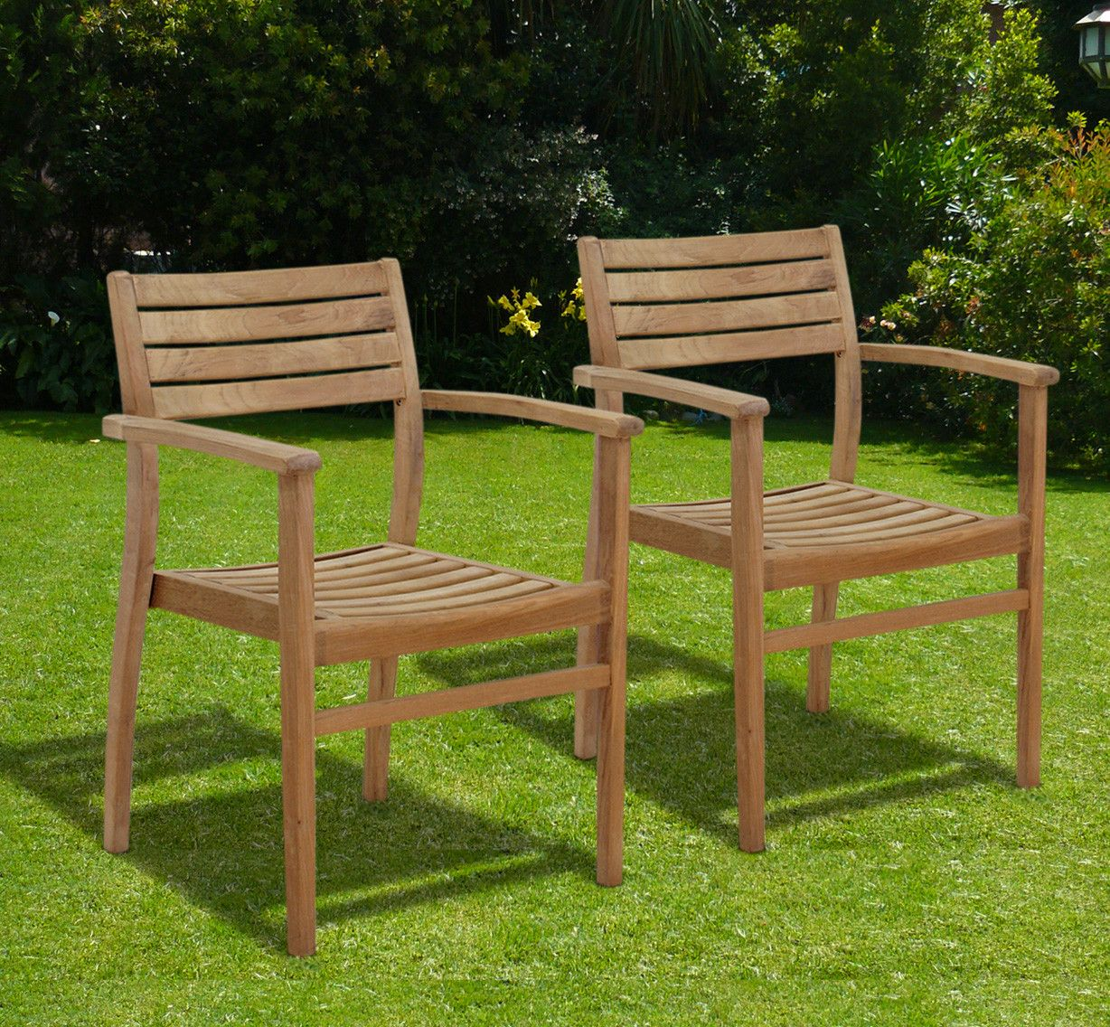 Canberra Stacking Dining Arm Chair Outdoor Dining Chairs Teak