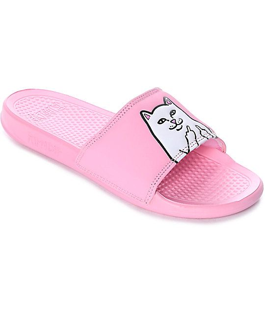 ab71dfc984863 Zumiez ExclusiveWear Lord Nermal on your feet with these Pink Slide Sandals  from RipNDip. Your