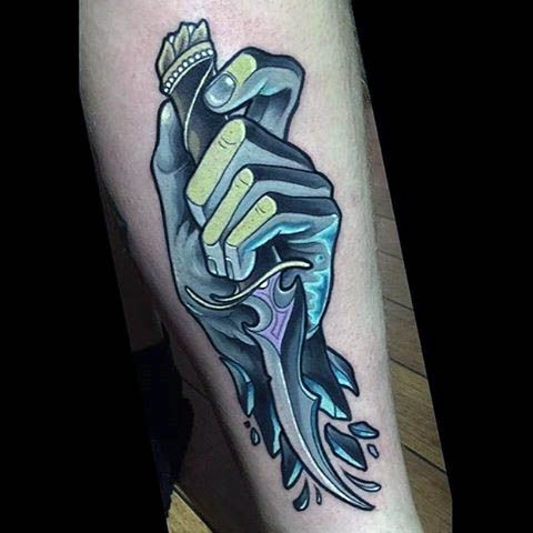 Mens Forearm Icy Hands With Knife Neo Traditional Tattoo ...