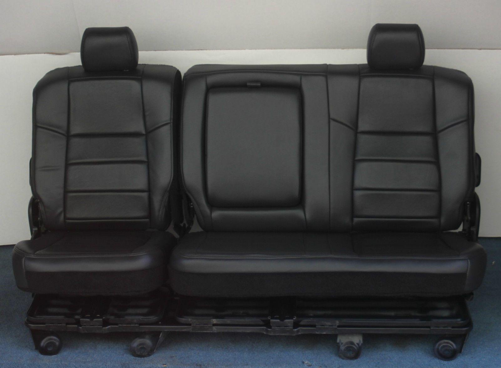 2007 2006 2005 F250 F350 Crew Cab Black Leather Car Seats F350 Crew Cab