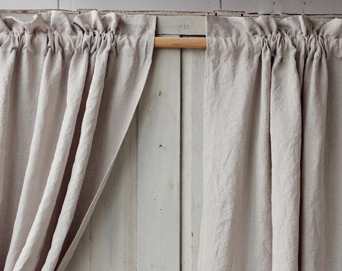 Tie top linen curtain panel colours semi sheer window or door