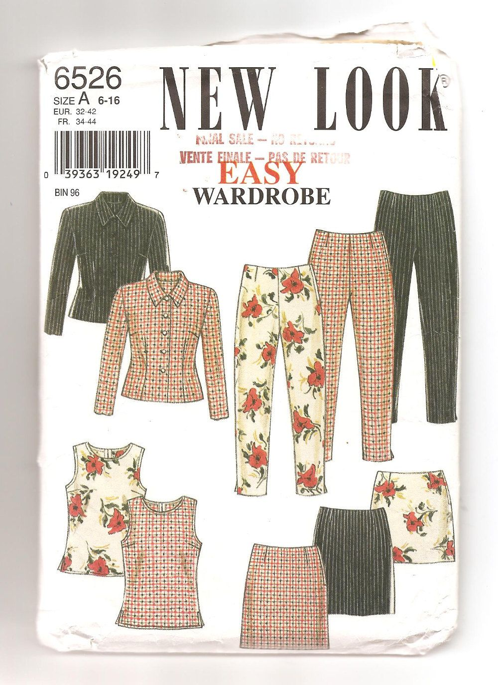 Patron New Look 6526 Années 1990 Easy Wardrobe Garde-robe d'été vêtements femme…