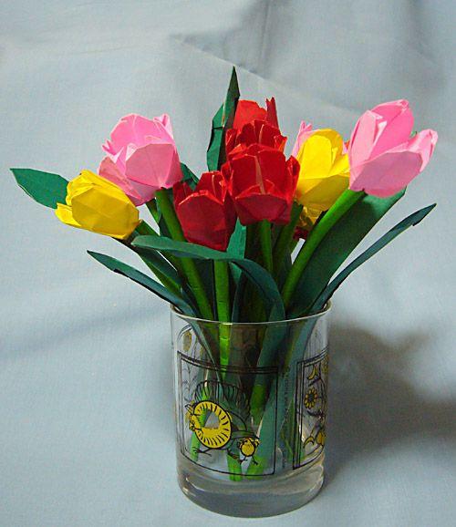 ハート 折り紙 折り紙 チューリップ 花束 : pinterest.se
