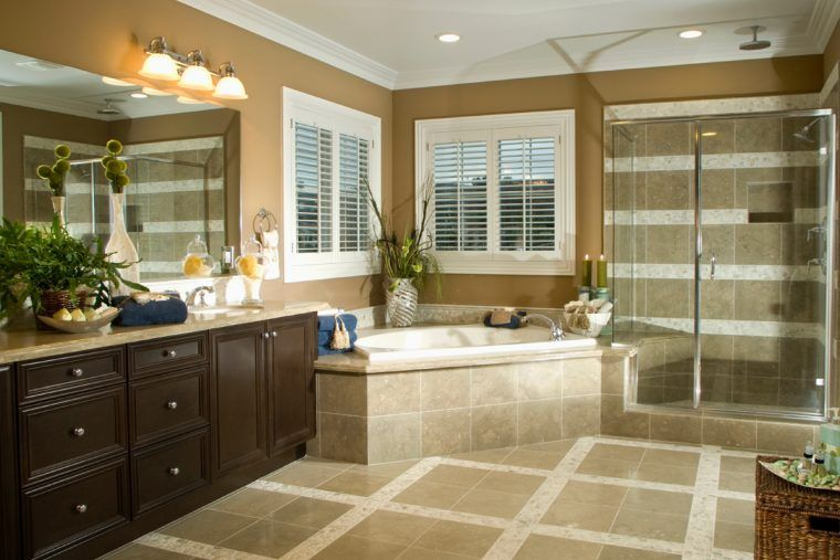 Minimalist Brown Bathroom Remodel With White French Windows Plus Stunning Contractors For Remodeling Home Minimalist