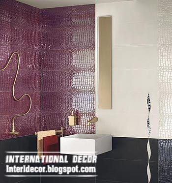 Wall Tile designs for bathroom in purple color, Purple Tiles