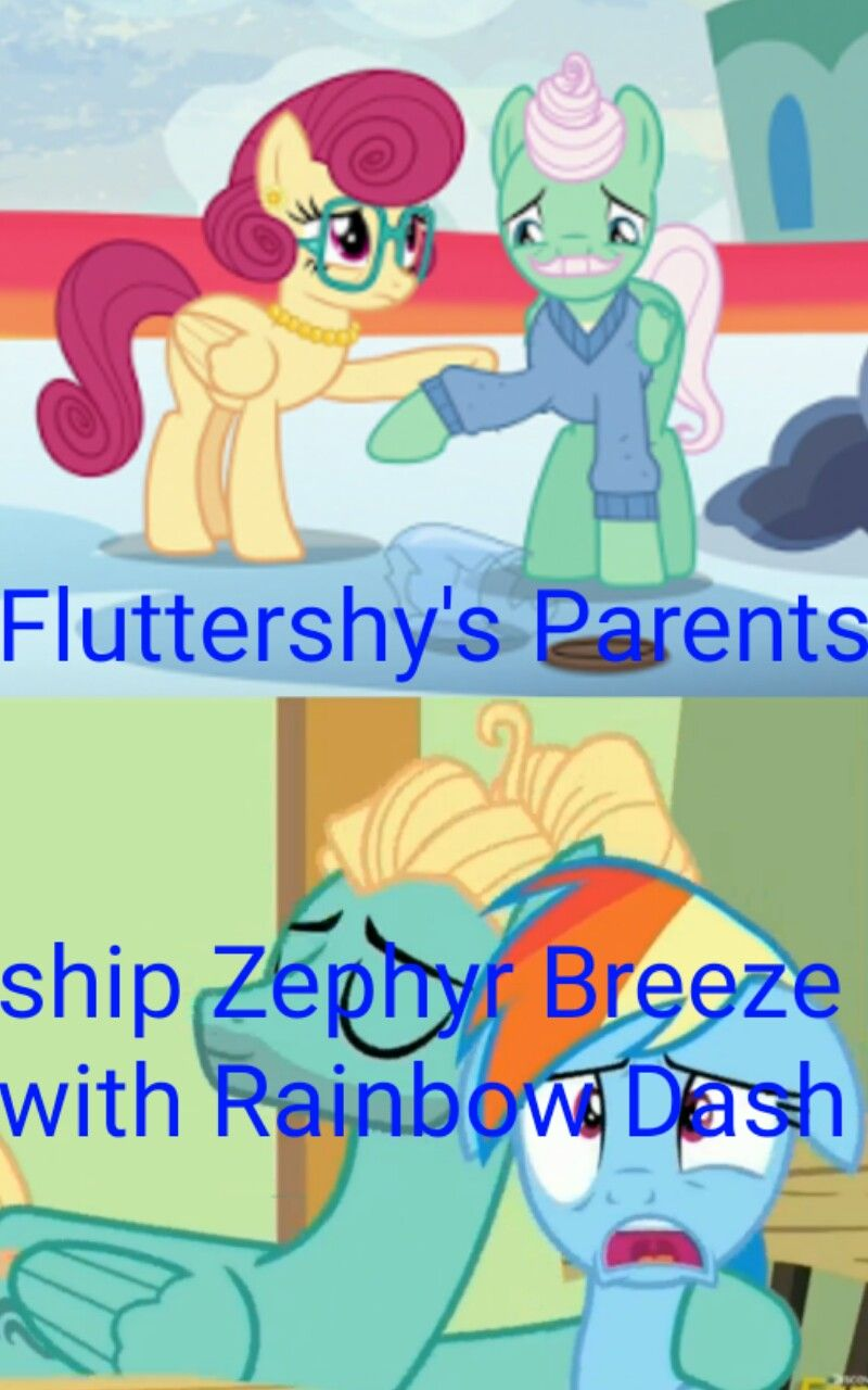 fluttershys parents ship zephyr breeze with rainbow dash
