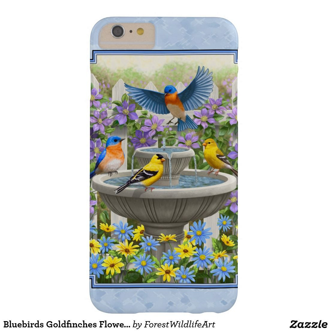 Bluebirds Goldfinches Flower Garden Fountain Blue Barely There iPhone 6 Plus Case
