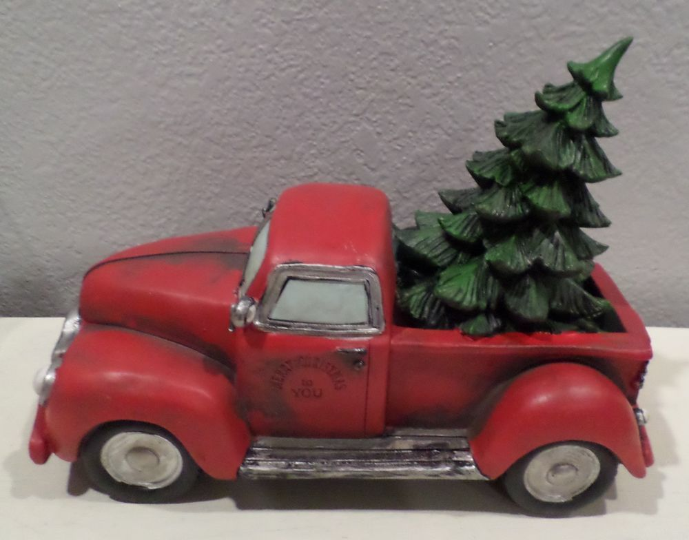 Old Red Truck With Christmas Tree In Back.Red Old Style Truck Christmas Tree In Back Fall Winter Home
