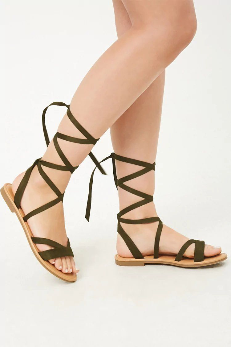 Product Name:Faux Suede Lace Up Sandals, Category:Shoes