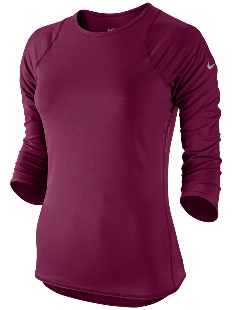 84973b77da49 Nike Women s Winter Baseline 3 4 Sleeve  Tennis Top in Raspberry Red ...