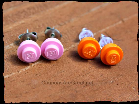Orange LEGO Custom Stud Earrings FREE POST