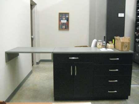Flip Top Countertop Hinged Up Work Counter Door Office Storage Cabinets Millwork