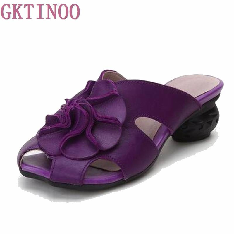 Purple Floral Shoes for Ladies Genuine Leather Peep Toes Slippers House Feetwear