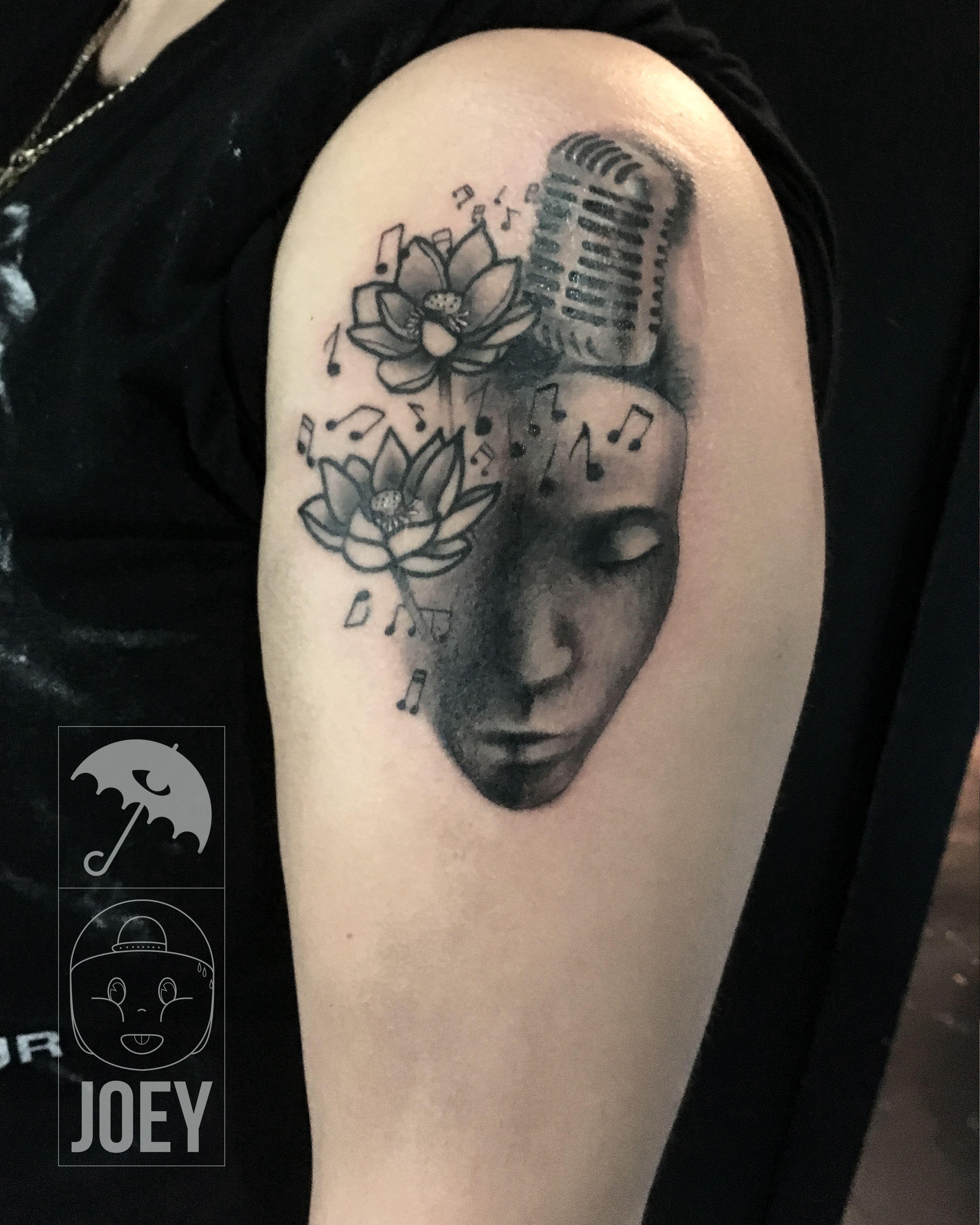 Black work traditional tattoo ink lotus music for Club ink tattoo brooklyn