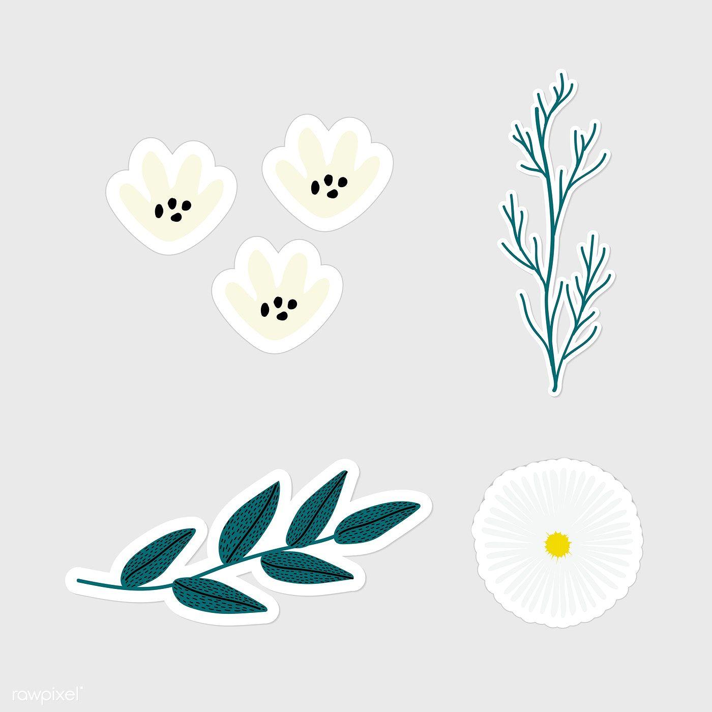 Download Premium Illustration Of Set Of Flowers And Leaves Sticker Doodle Flower Illustration Flower Doodles Floral Stickers [ 1400 x 1400 Pixel ]