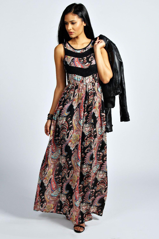 c45669e83edb Karolina Lace Detail Paisley Maxi Dress at boohoo.com   Dream Closet ...