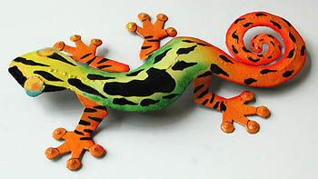 TROPICAL HOME DECOR -  Green & Orange Metal Gecko Metal Art - Tropical Wall Decor  - Hand Painted Metal Steel Drum Tropical Art from Haiti - Found at www.TropicAccents.com