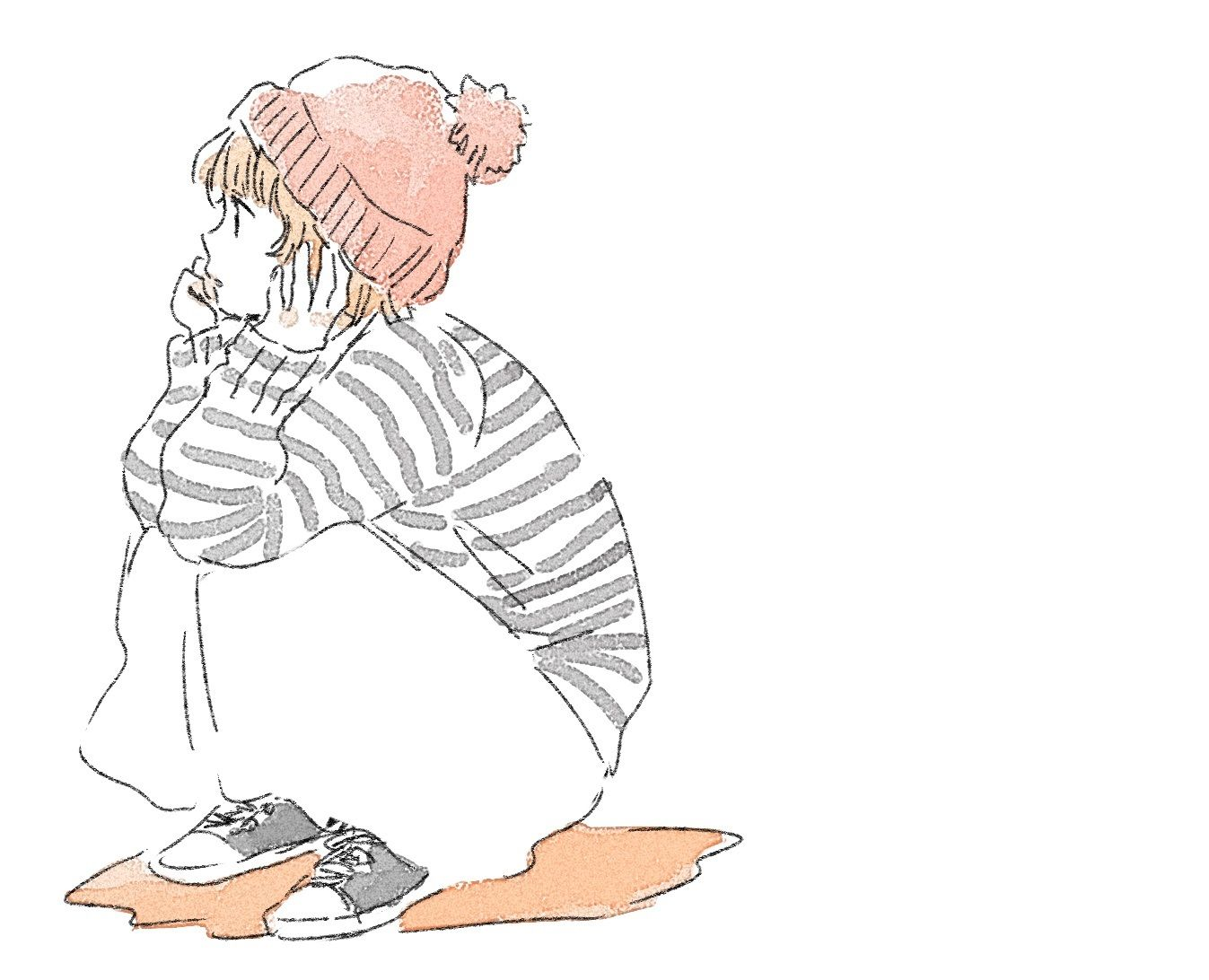 ニット帽のおんなのこ | イラスト | pinterest | ニット帽、ニット、いつか