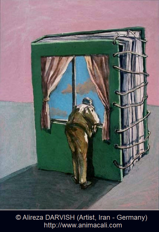 Darvish Artist Iran Germany Via His Website Animacali Surreal Art Man Viewing The World From The Window Of A Bo Livre Sculpte Livre Amoureux Des Livres