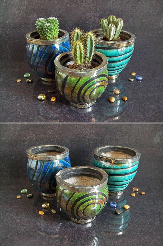 Raku Ceramic Planter Pot Set Planter Set Of Three Succulent Pot Set Of 3 Planter Succulent Planter With Drainage Decorative Plant Pots In 2020 Plant Pot Decoration Ceramic Planter Pots Cactus Flower