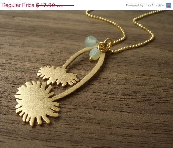 On Sale Two Dandelions Necklace in Matte Gold by shlomitofir