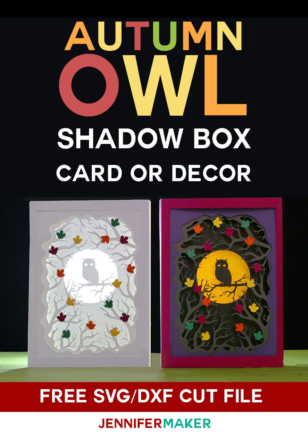 Owl Shadow Box Card for Autumn Cards, Shadow box, Paper